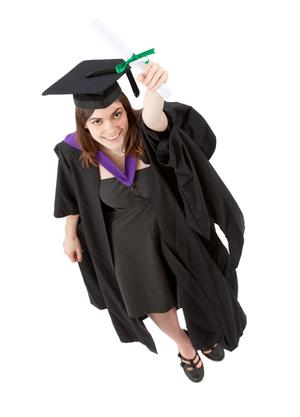 graduation woman portrait - top view