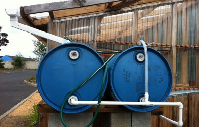 Rain barrels at the Lincoln County Master Gardener demonstration garden