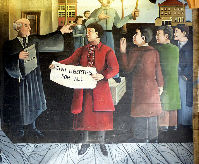"Civil Liberties For All,"" A mural by Astrid Fuller, 57th Street Underpass, Chicago"