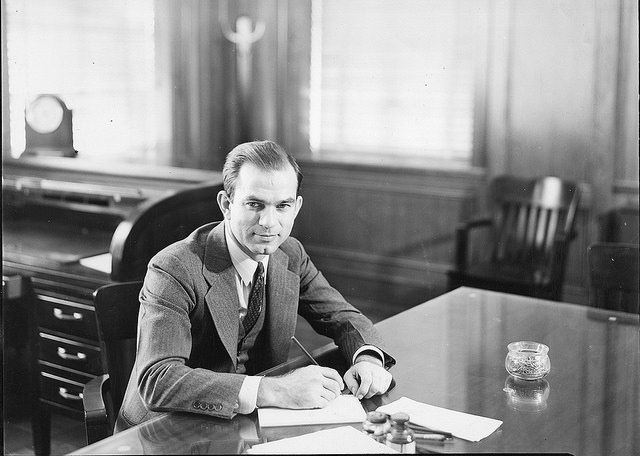 J. William Fulbright in his President's office at University of Arkansas
